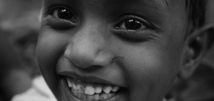 Smiling Child(Black and White Photography) - Faces of India )