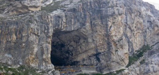 Amarnath Holy Cave in Amarnath, Jammu and Kashmir, India