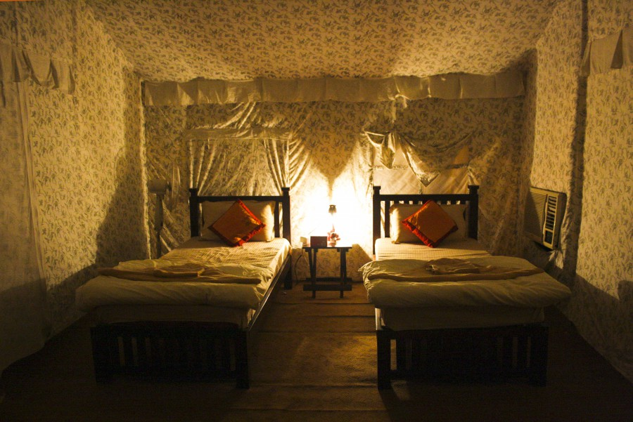 Jal Mahotsav - Interiors of Luxurios Tent in Hanuwantiya, Khandwa, Madhyapradesh, India.