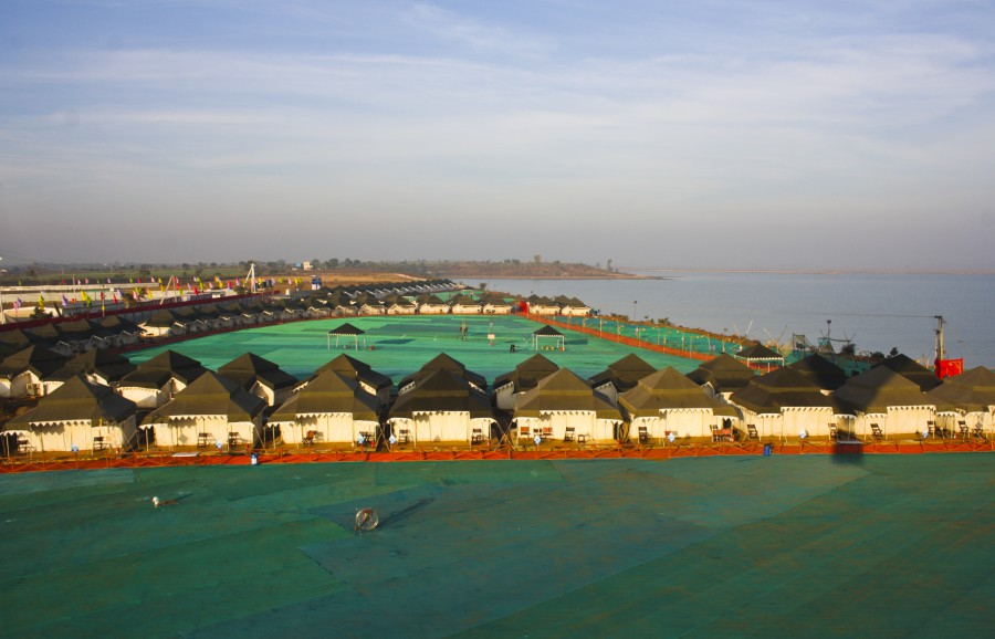 Jal Mahotsav - Aerial View of Tents in Hanuwantiya, Khandwa, Madhyapradesh, India.