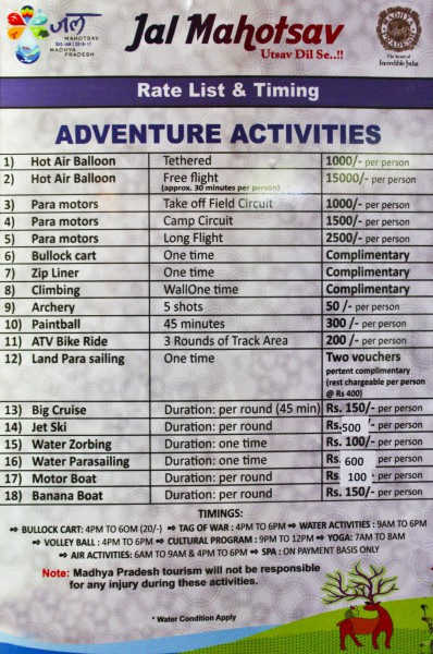 Jal Mahotsav - Rate List of Adventure activities of Tent in Hanuwantiya, Khandwa, Madhyapradesh, India.