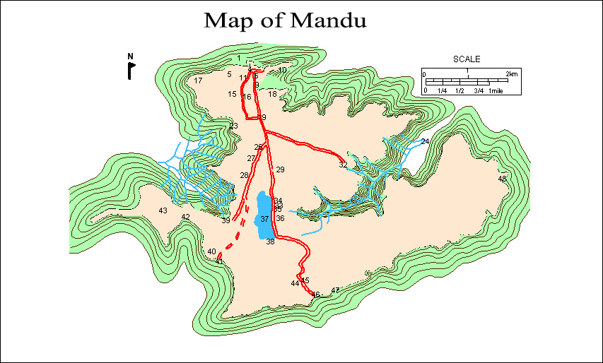 Map of Mandu Fort, Madhya Pradesh, India